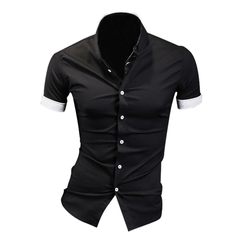 1329fb62655 Compre Camisas De Vestir Para Hombre De Verano Negro Caliente Plaid Hit  Bordes De Color Forrado Con Rayas Slim Fit Camisas De Manga Corta M A   20.64 Del ...