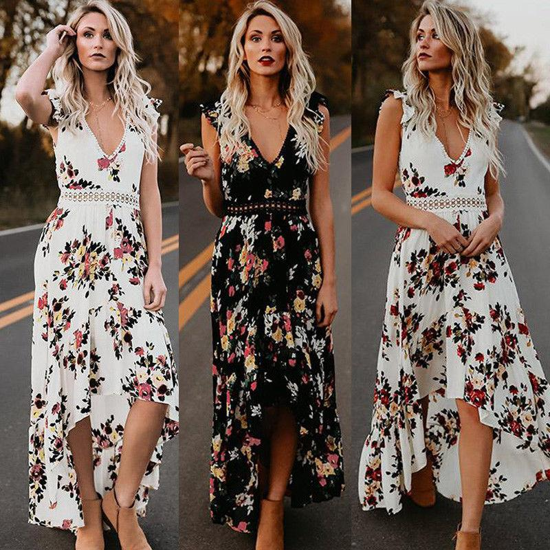 Sexy Deep V Neck Backless Summer Dress Women Floral Print Bohemian Maxi Dress  Hollow Out Irregular Long Dress Vestidos Short Purple Dresses For Juniors  ... 9bd53015a
