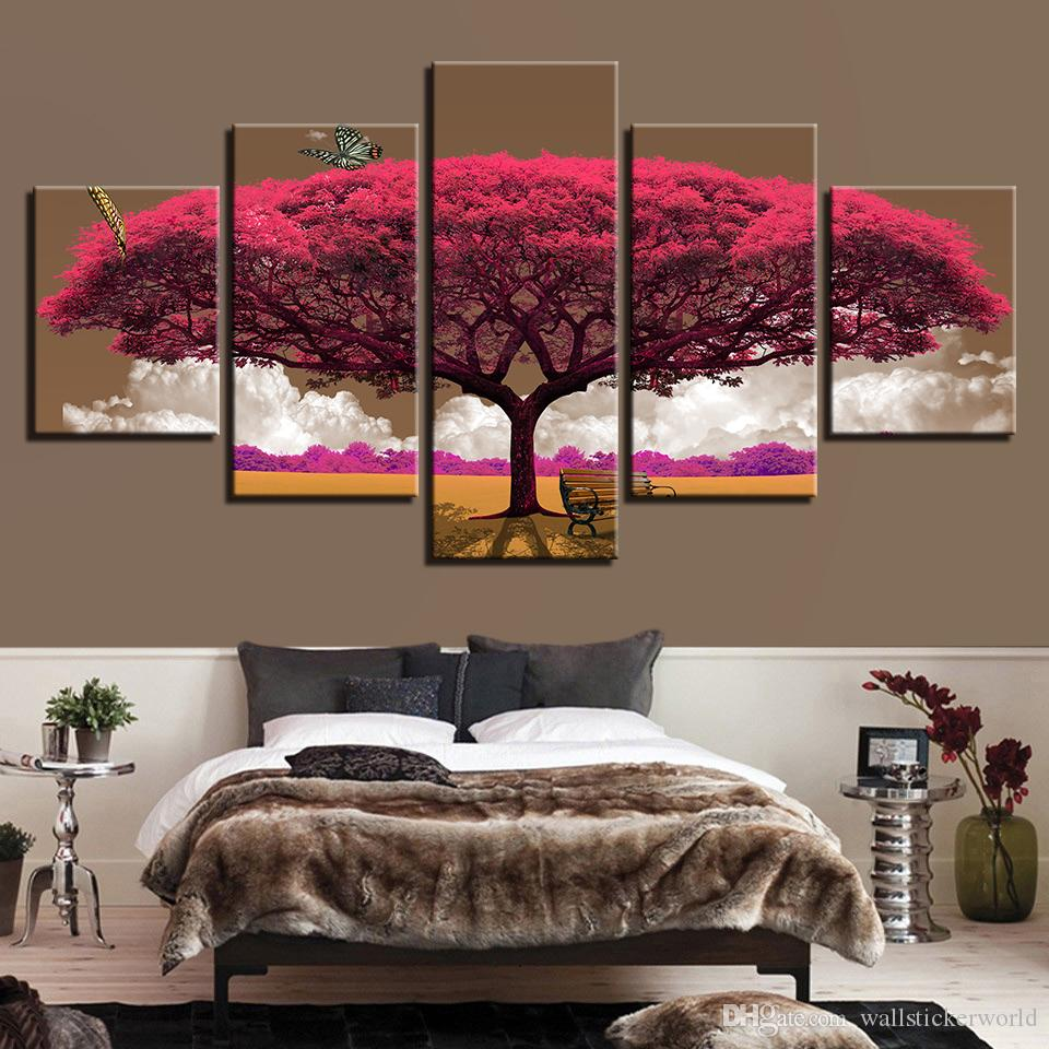 Canvas HD Prints Pictures Wall Art Butterfly Posters Purple Red Tree Scenery Paintings Living Room Home Decor Framework