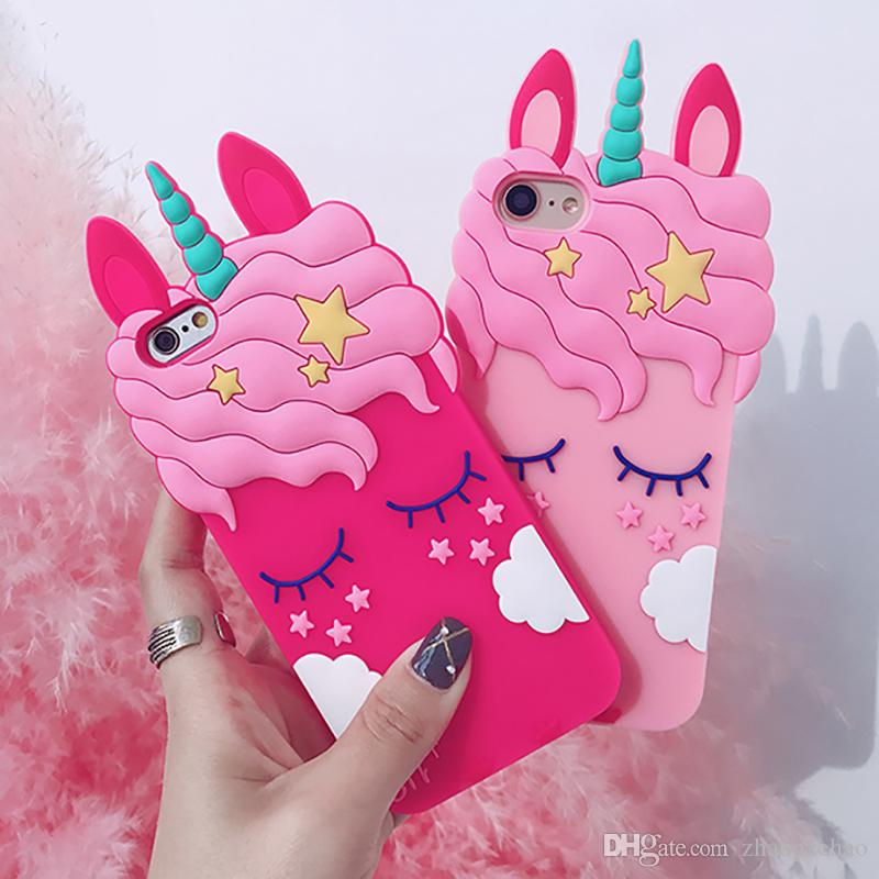 Cute Cartoon Pink Unicorn Case For
