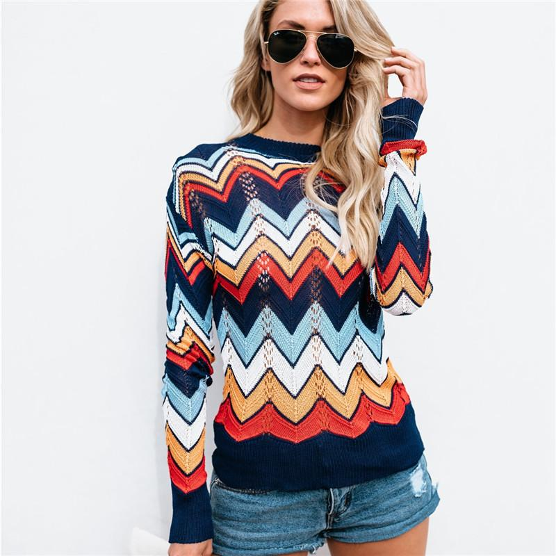 d06f990edeb 2019 Rainbow Sweater Women Fashion New Arrivals Sweaters Woman Plus Size  Pullover Oversized Sweater Sweaters Women Autumn Winter Top From  Liuyang2016
