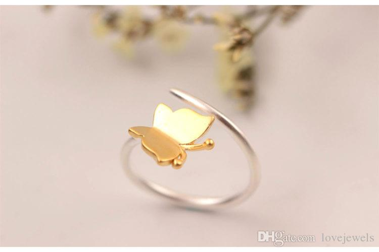 designer jewelry fashion charm Butterfly ring 925 sterling silver Sweet golden butterfly lovers ring yellow gold butterfly ring china direct