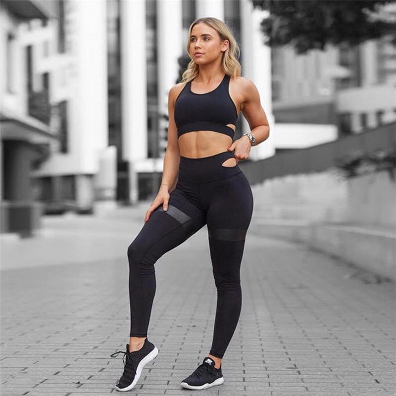 2018 New Women s Yoga Fitness Pants Set Yoga Clothes Suit Sports ... 39bfb44f2