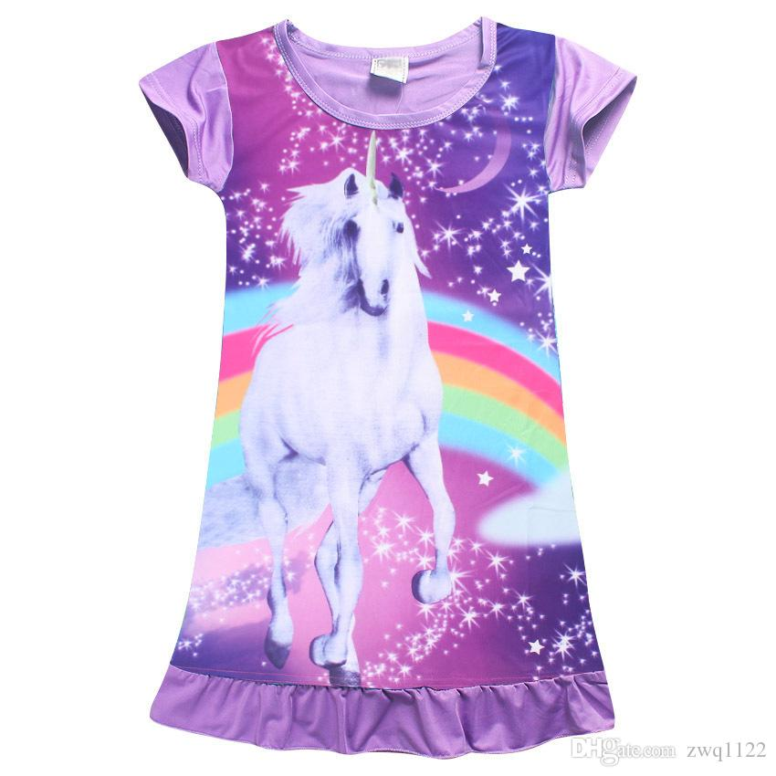 Girl Unicorn princess Pajamas dresses Kids baby girls new printing short sleeves dress summer cartoon Children night skirts