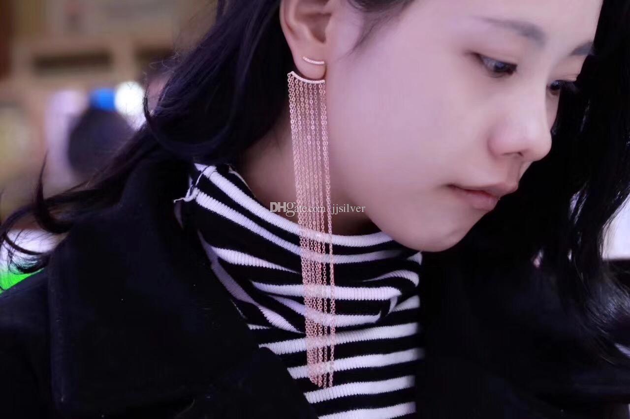 Vintage 925 Sterling Silver Double Sided CZ Tassel Ears Jacket Asymmetric Dangle Drop Earrings Femme Brincos Jewelry