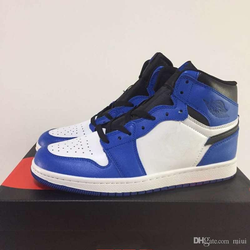 With Box 1 High OG Game Royal Men Basketball Shoes Blue Moon Sports Sneakers  1s Women White Blue Black Toe 36 47 Kevin Durant Basketball Shoes  Basketball ... 8c5648162