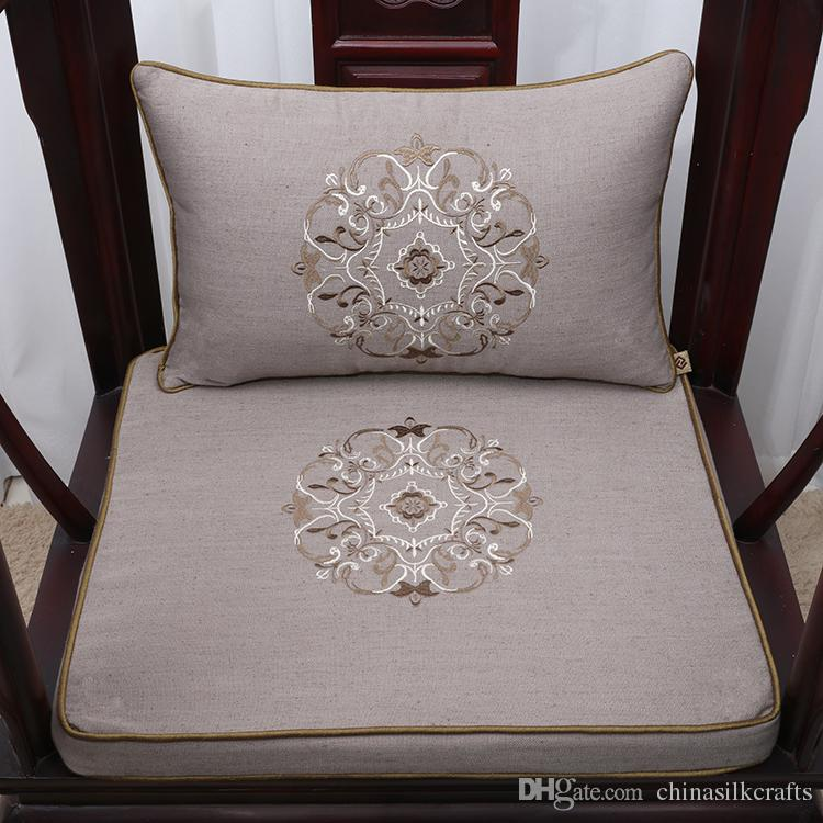 Fine Embroidery Lucky Soft Thick Seat Chair Cushion Linen Cotton
