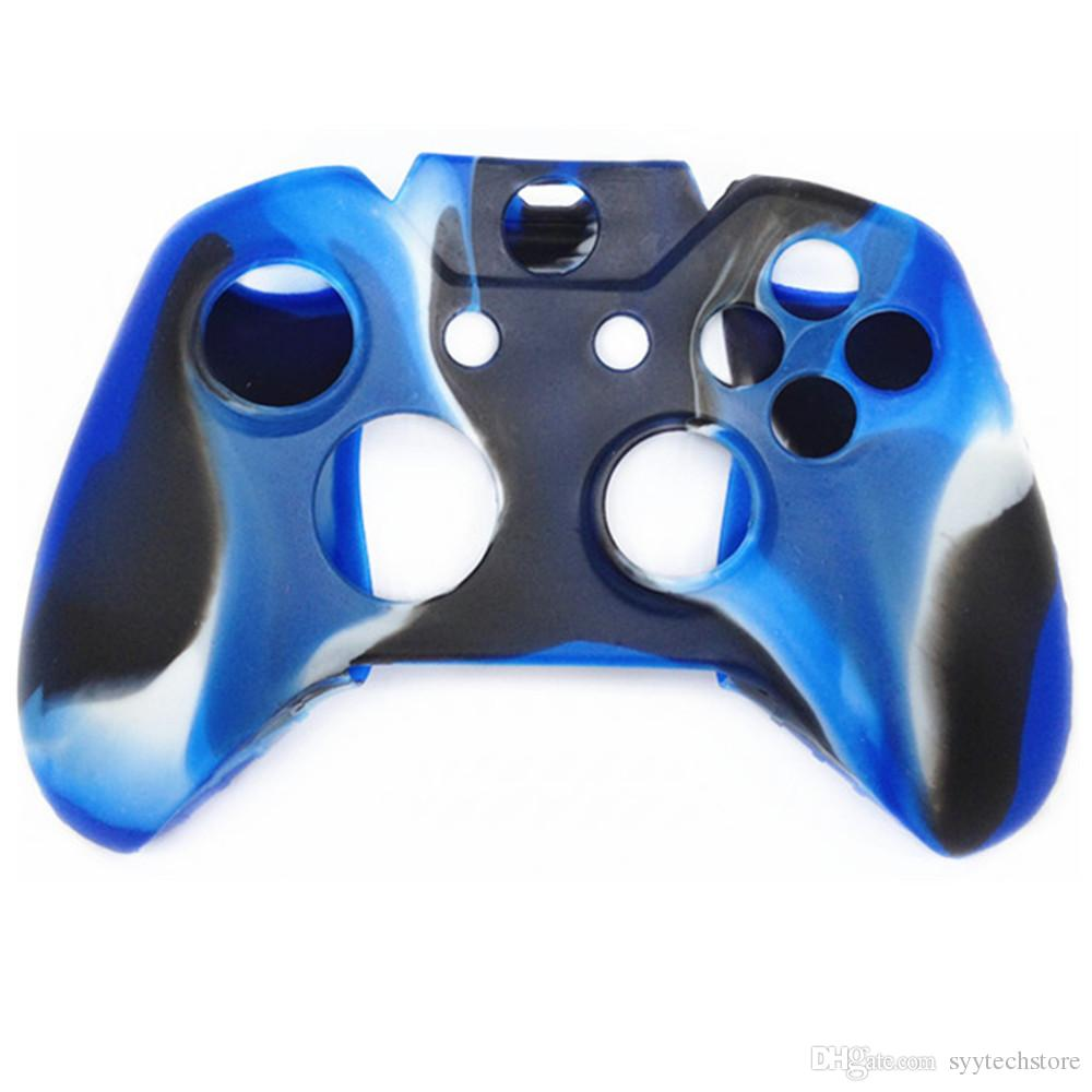 Protective Camouflage Soft Silicon Gel Rubber Cover Skin Case for Xbox One Controller Camouflage Blue/Red/Green