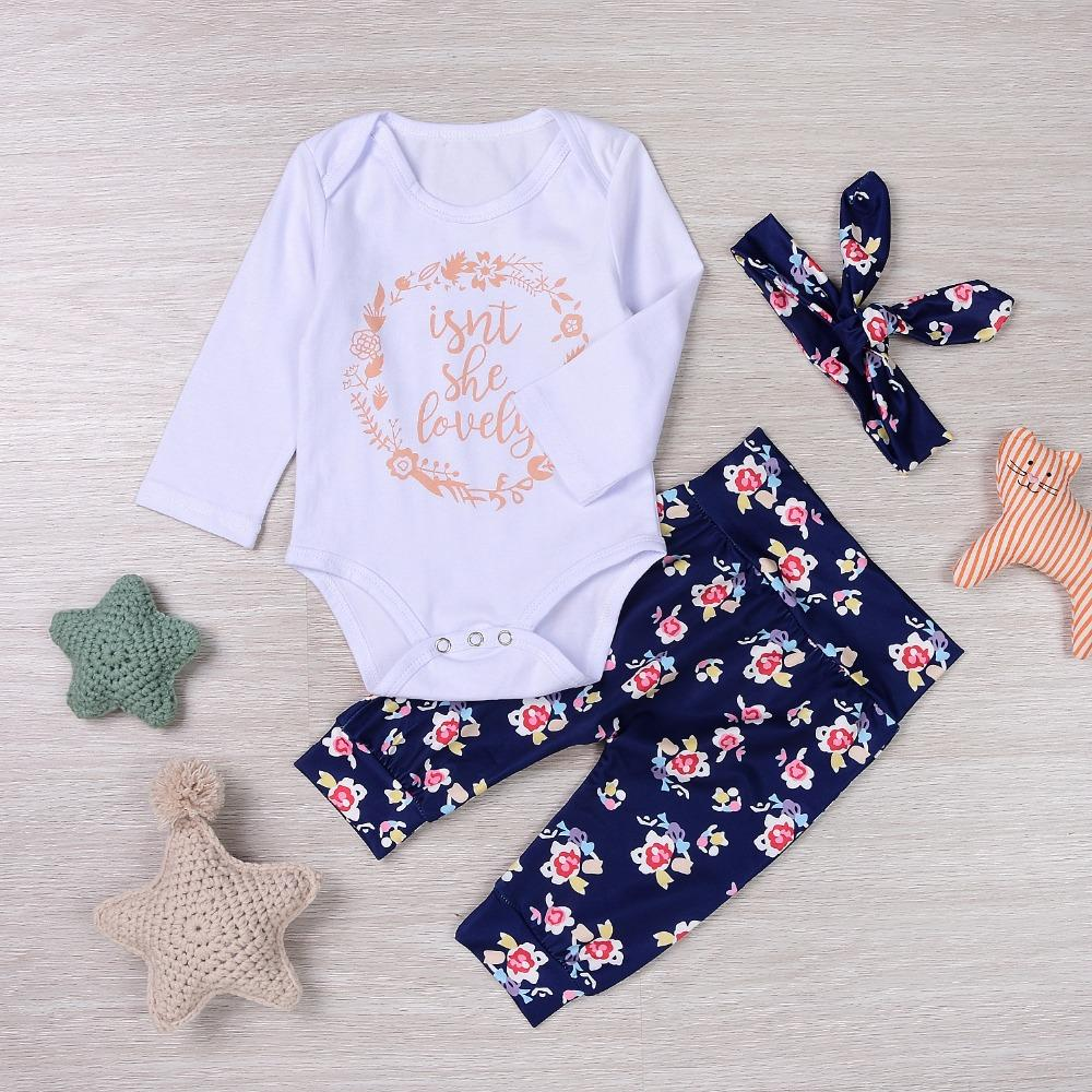 6a1e02a2dff 2019 Kids Fashion 2018 Toddler Girls Summer Clothing Set Letter Flower Print  Long Sleeve Jumpsuit Romper Navy Trouseers Three Piece From Cornemiu