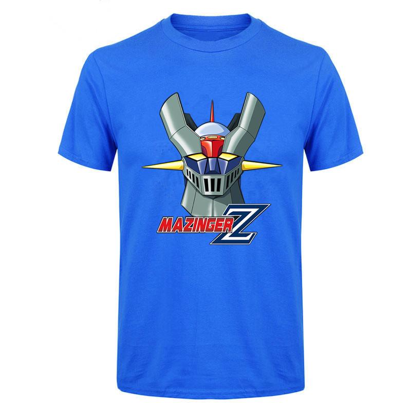 2018 Interesante Mazinger Z T Shirts Hombres Anime Viejo Clásico Manga Robot Película Blue T Shirt Black Basic Tees Camiseta Para Niños