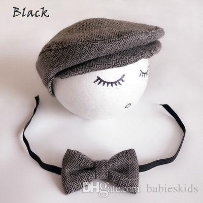 Bebek Şapka Yenidoğan Doruğa Beanie Kap Şapka + Papyon Fotoğraf Fotoğraf Prop Kıyafet Seti Yürüyor Çocuk Boys Kız Caps