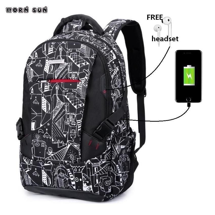 another chance 17eb1 b3f07 2018 New Backpack Headphone jack SCHOOL school bag waterproof laptop  backpack korean fashion travelling rugzak