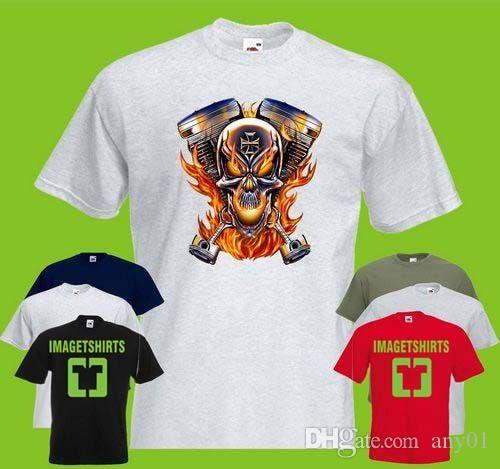 12269b345 Biker Skull And Parts Mens PRINTED T SHIRT Maltese Cross Motorcycle Bike T  Shirts Cheap T Shirts Vintage From Any01, $13.19| DHgate.Com