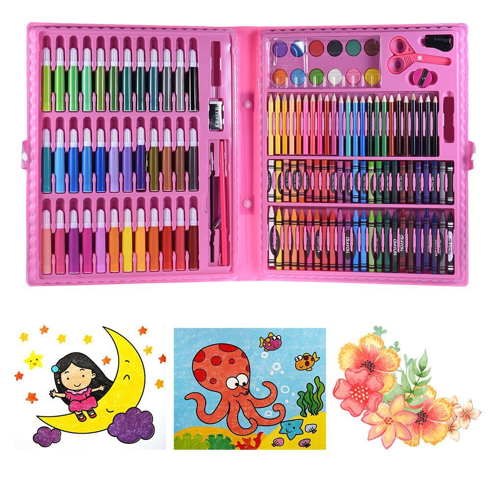 b4c1aeed8cf6 Compre 148 Unids Marcadores De Colores Lápices De Colores Crayones  Acuarelas Deluxe Art Set Para Niños Con Estuche Regalo Para Niños  Suministros De Pintura ...