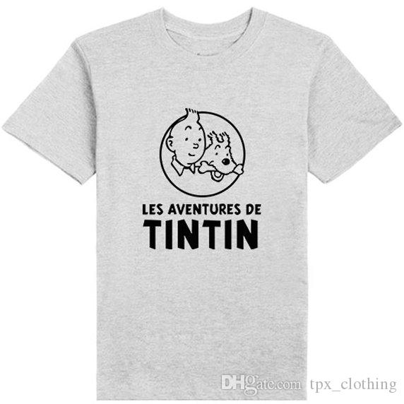97bb74c6 The Adventures Of Tintin T Shirt Nice Short Sleeve Gown Cartoon Leisure  Tees Unisex Clothing Pure Color Tshirt Best T Shirt Sites T Shirt Shopping  From ...