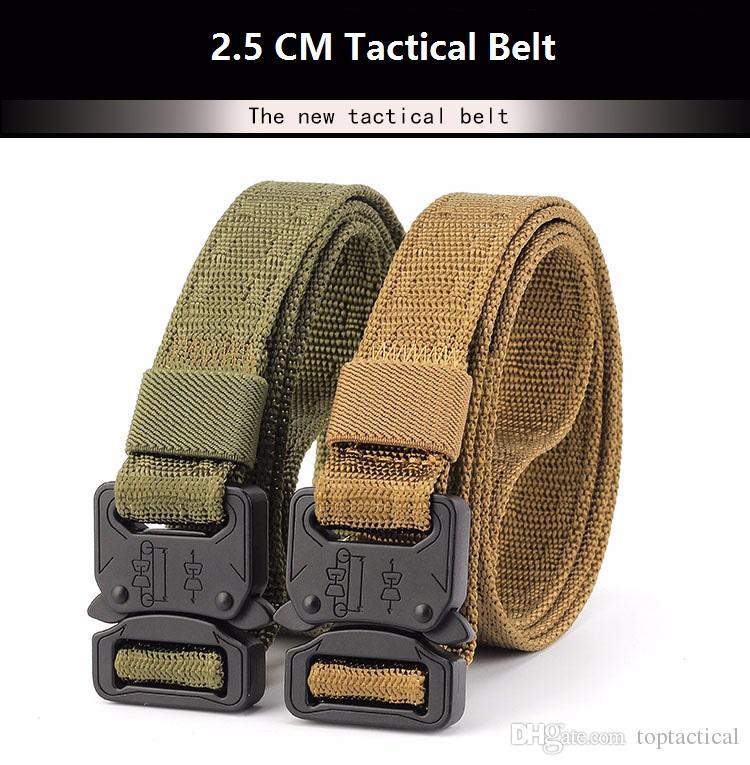 Comercio al por mayor de Alta Calidad Barato 2.5 CM Recién Multifuncional Combate Tactical Soft Nylon Belt Army Training Duty Belt
