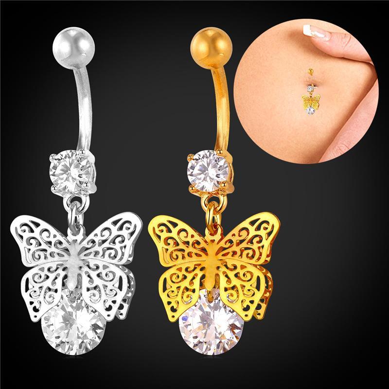 Collare Vintage Belly Button Anillos de Cristal Con Mariposa Mujeres Navel Piercing Oro / Plata Color de la Mujer Body Jewelry DB132