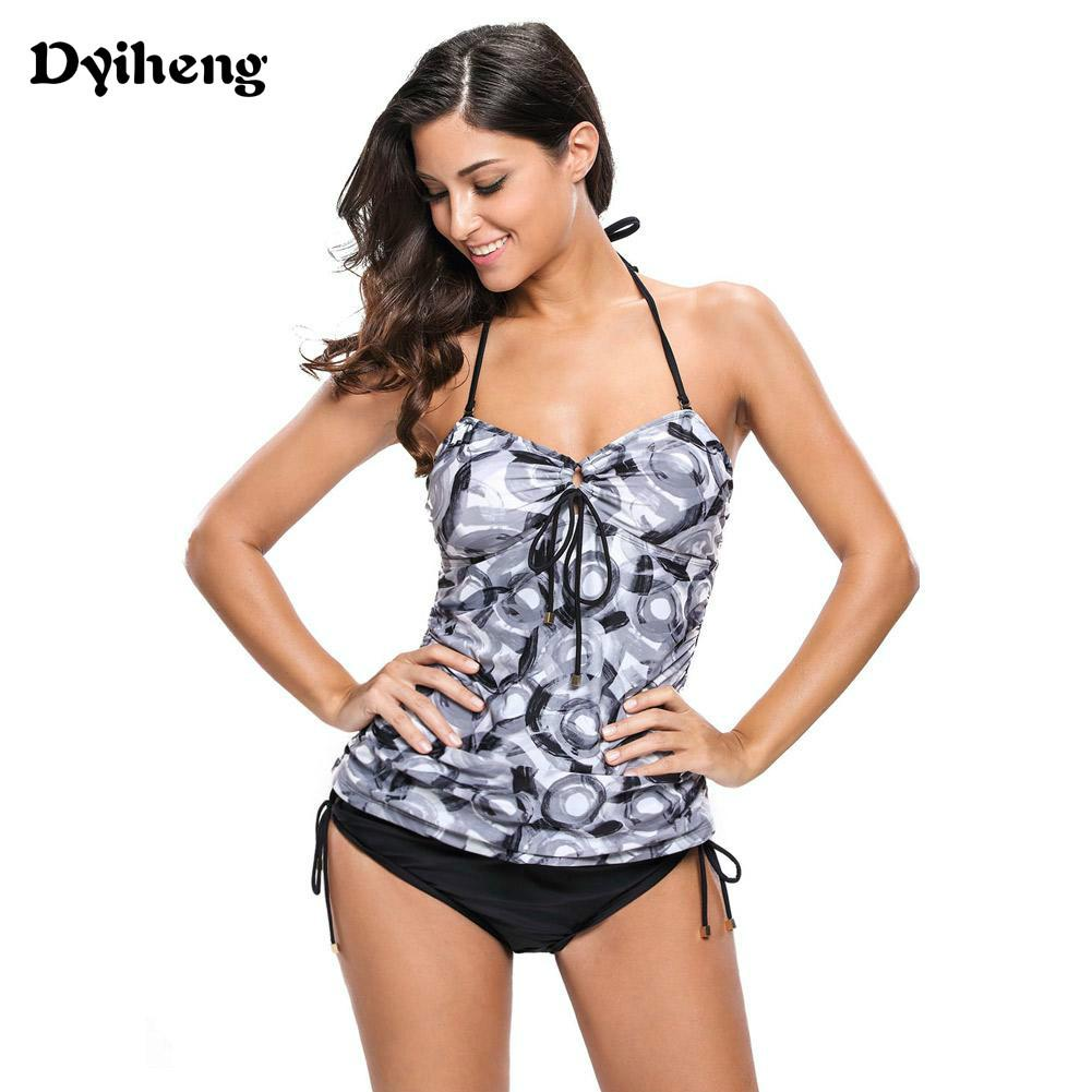 0178a53650365 Bikini Plus Size Swimwear Abstract Circle Print Halter Tankinis ...