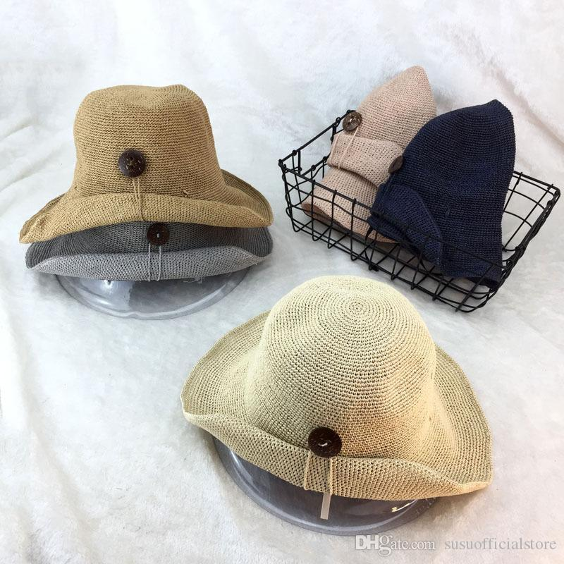 417205fddcb 2018 Summer Women Raffia Sun Hat with Button Handmade Straw Beach Caps Lady  Foldable Wide Brim Crochet Hats Women Raffia Sun Hat Straw Beach Caps  Handmade ...