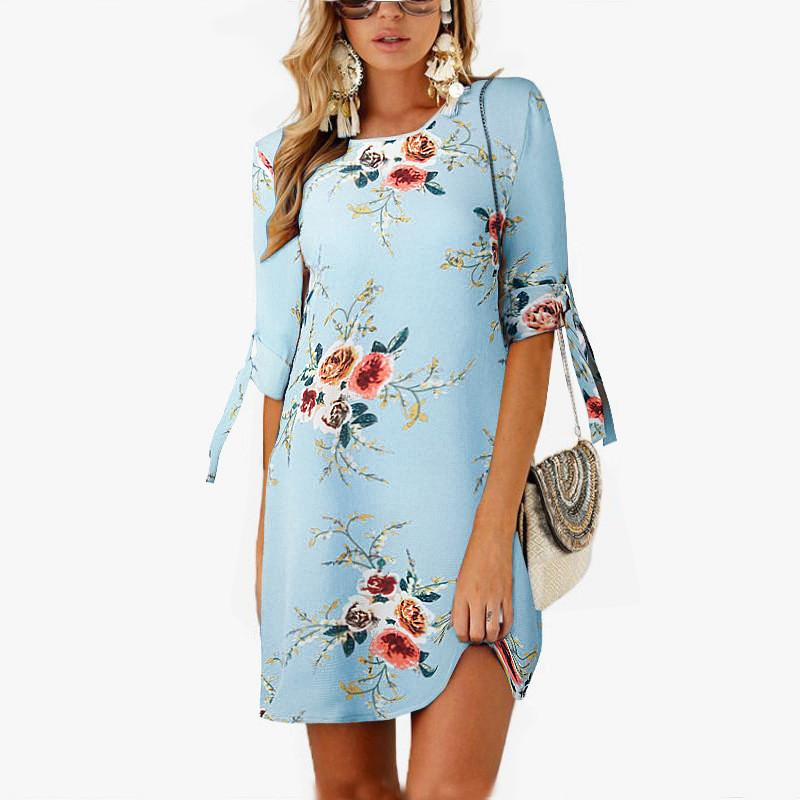 fadf886a3e60a 2018 Women Summer Dress Boho Style Floral Print Chiffon Beach Dress Tunic  Sundress Loose Mini Party Dress Vestidos Plus Size 5XL