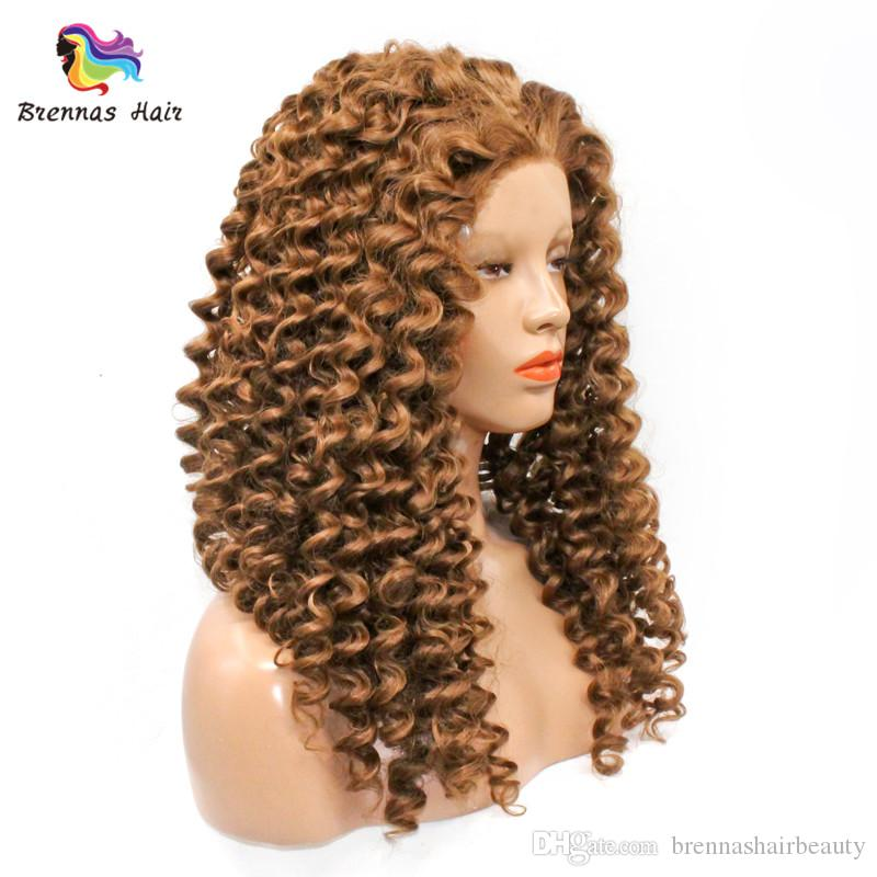 Golden Curly Human Hair Wigs Deep Curly Jerry Curly Afro Kinky Malaysian Peruvian Unprocessed Virgin Hair Lace Front Wig Customized