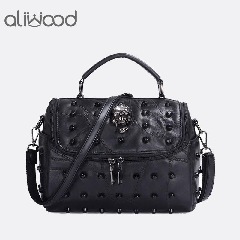 add00b0cb8c eather crossbody bag Aliwood Women s hand Genuine Leather Crossbody bags  Diamond embroidery Rivet Messenger Pillow Tote Beans Shoulder B...