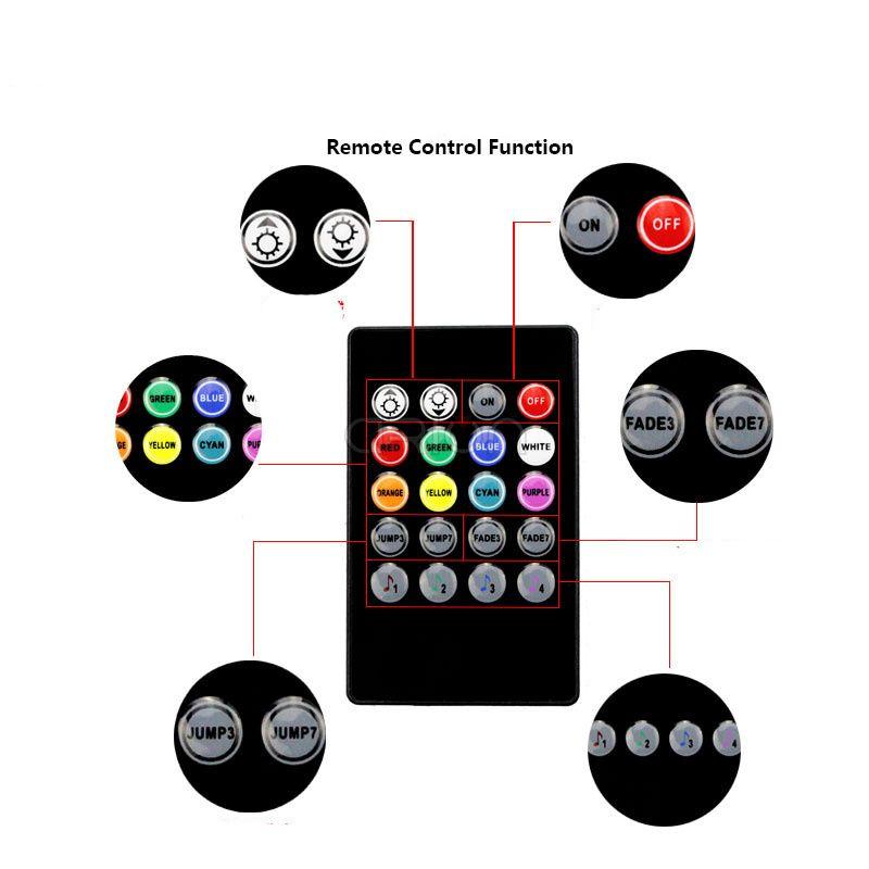 HEHEMM 4 unids USB Car Interior Música Control RGB Tira de Luz Flexible Atmósfera Kit Lámpara Decorativa Luz SMD5050 con Control Remoto