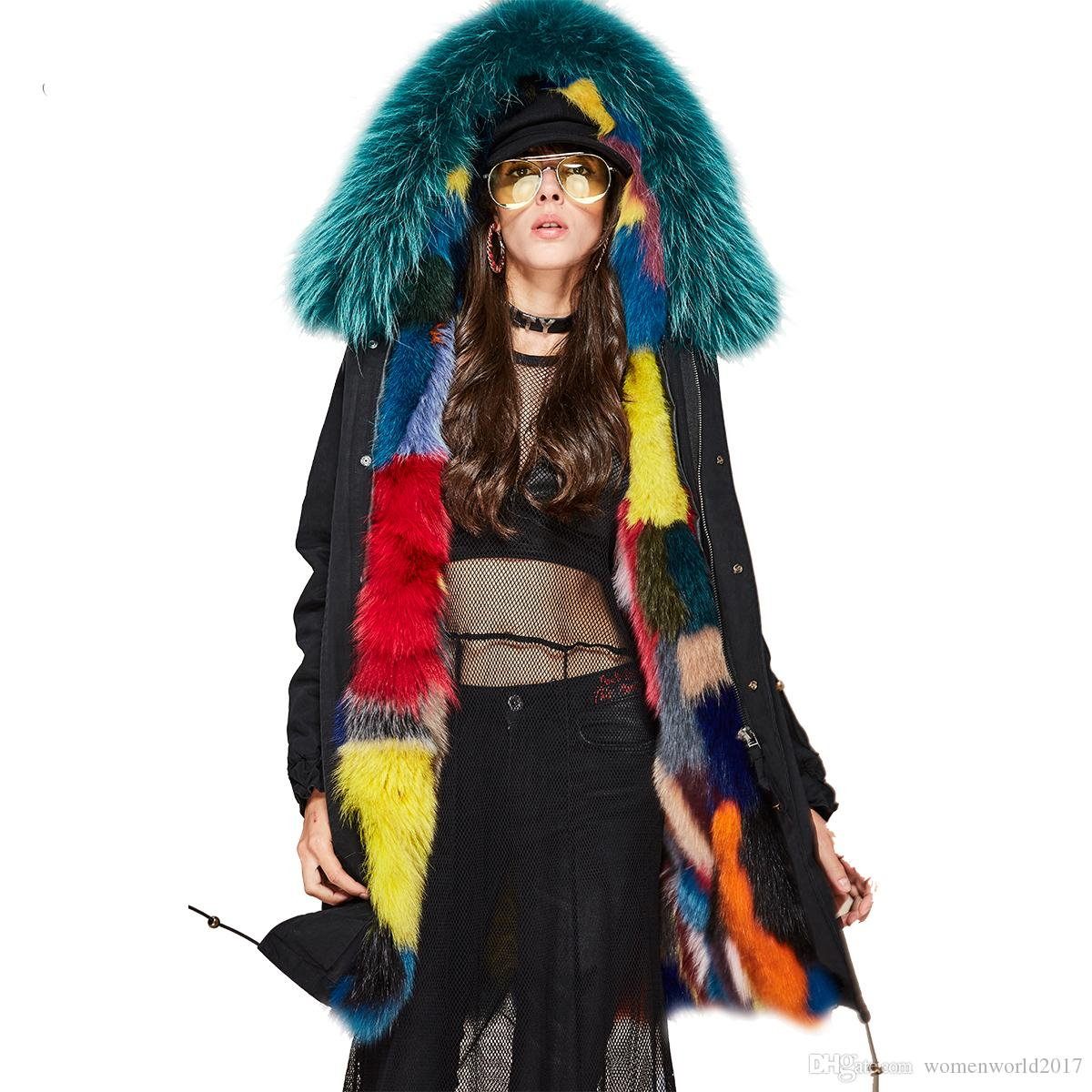 74a902b65b 2019 New Fashion 2018 Woman Luxurious Multicolor Real Fox Fur Military Parka  Detachable Hooded Coat Outwear Winter Jacket From Womenworld2017, ...