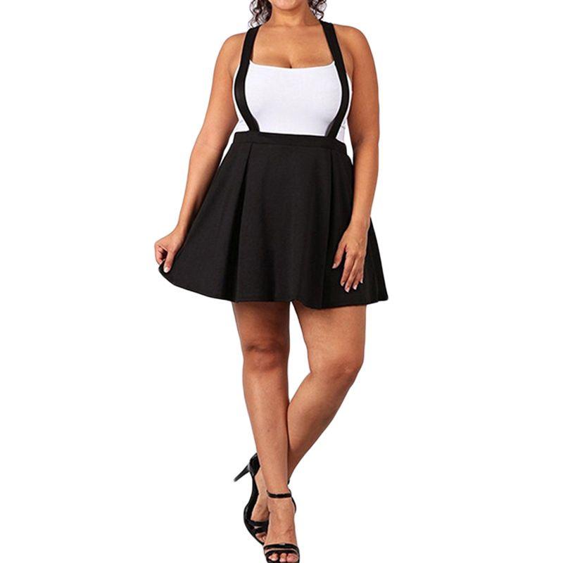 a327a441b5b9ac Femmes Jupe Noire avec Bretelles Jupe Plissée Jarretelles Jupes Taille  Haute Mini Jupe Scolaire 2XL