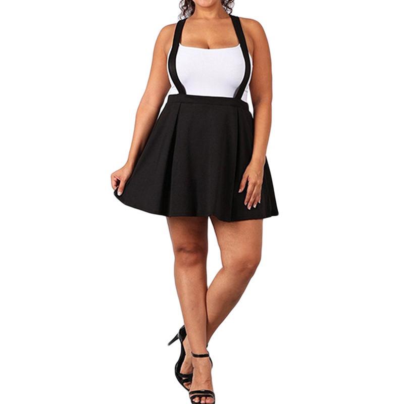 2019 Women Black Skirt With Shoulder Straps Pleated Skirt Suspender