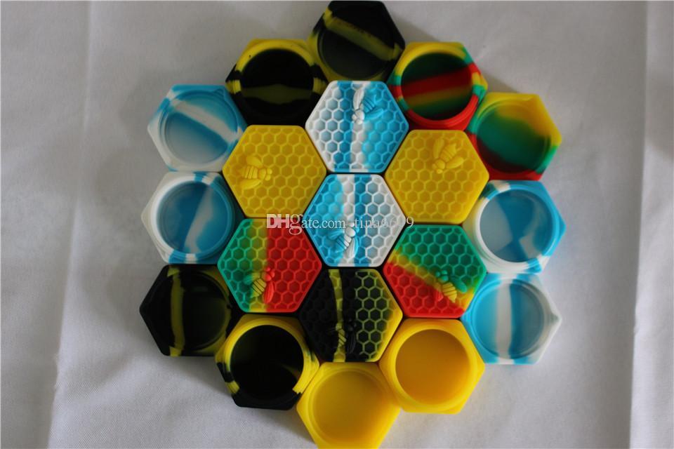 Rich color honeybee hexagon Silicone Container Jars Container Silicone Container For Oil Crumble Honey Wax Silicone Jars Dab