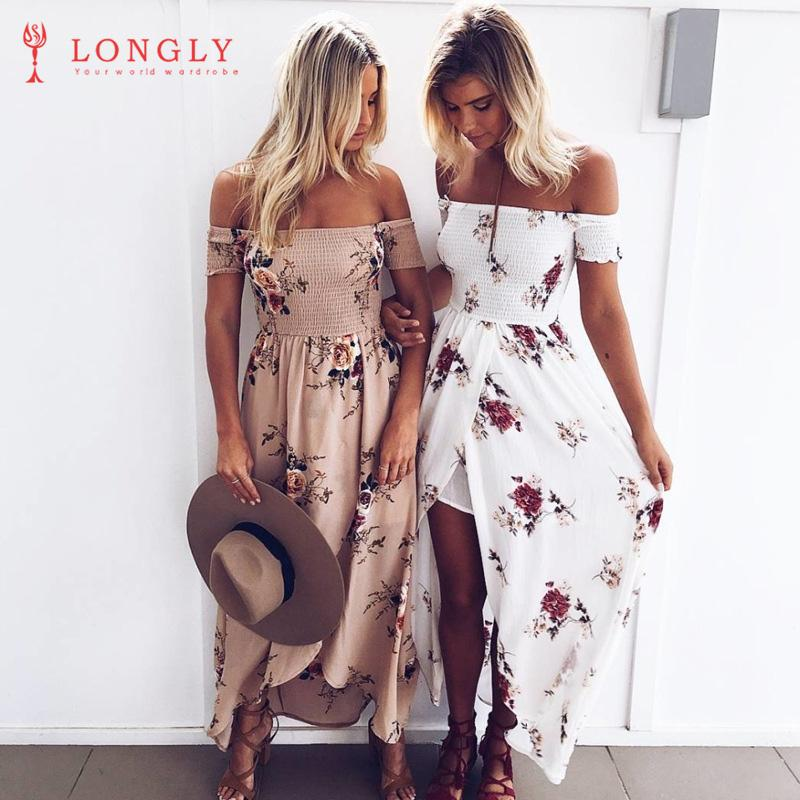 89a0e58fe9 2019 LONGLY Boho Style Long Dress Women Off Shoulder Beach Summer Dresses  Floral Print Vintage Chiffon White Maxi Dress From Sandyluo0325