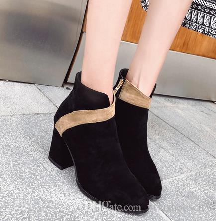 5ff0d758d31 Sexy Women Shoes Patchwork Mixed Colors Chunky Heel Shoes Synthetic ...