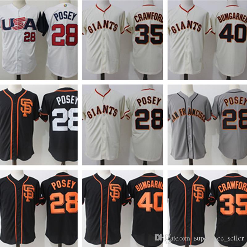15445a43d 2019 San Francisco Jersey Men S 28 Buster Posey 22 Will Clark 35 Brandon  Crawford 40 Madison Bumgarner Stitched Baseball Jerseys From  Super ace seller