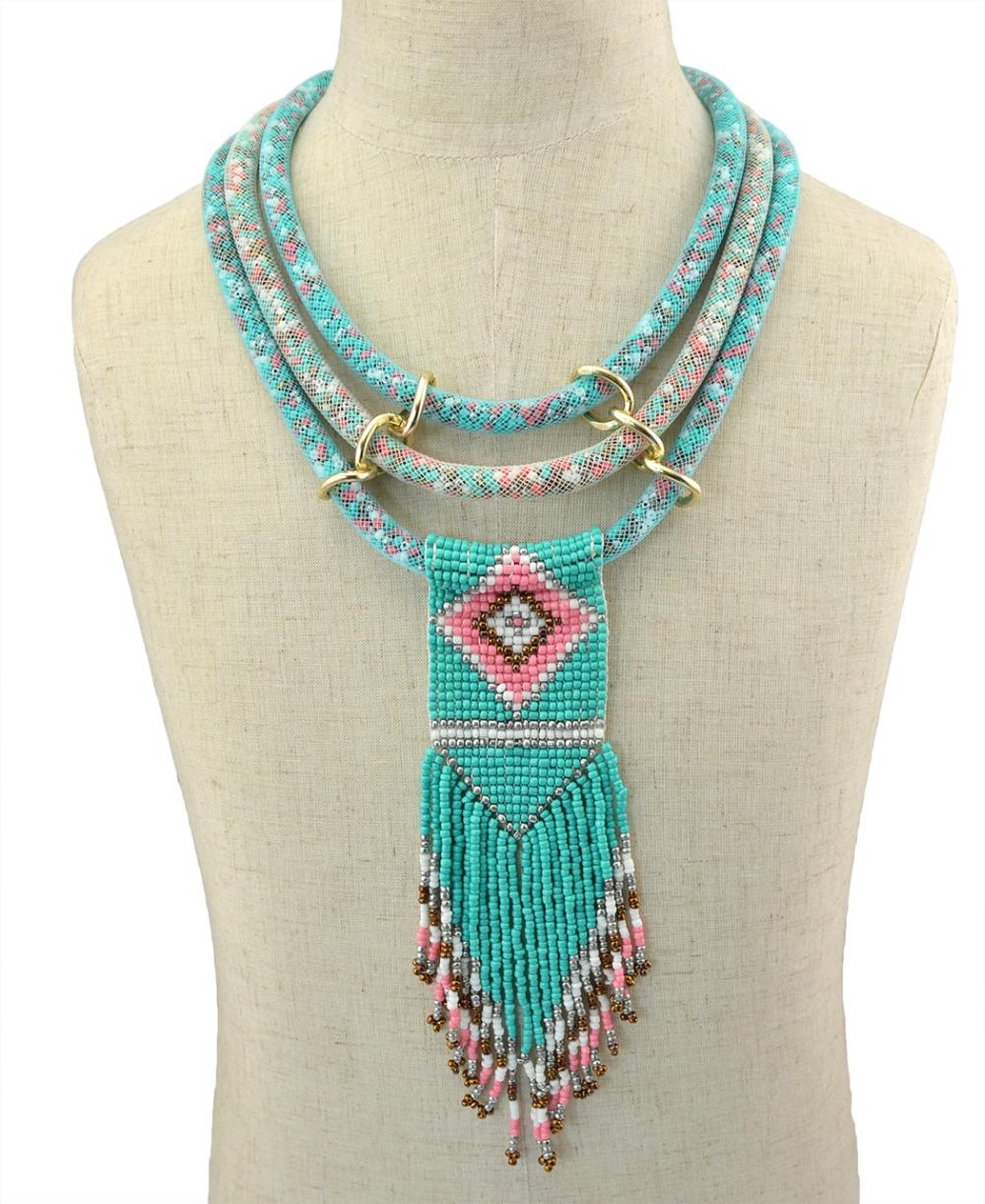 Idealway Handmade 3 Layers Resins Beads Pendant Necklaces For Women Boho Ethnic Tribal Long Tassel Drop Earring & Necklace Sets