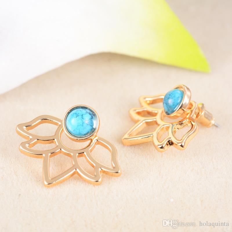 Trendy natural stone earrings Gold Silver Color Alloy Spike Earrings Ear Jacket Clip Stud Earrings for Women