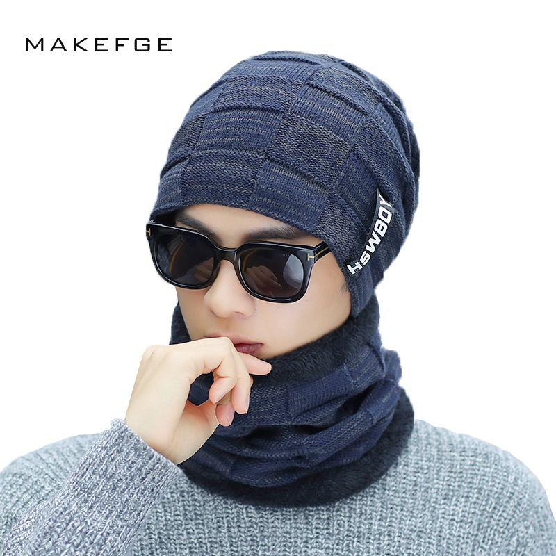 Winter Men s Knitted Cotton Hats Warm And Comfortable Velvet Thick ... 87c531de9d82