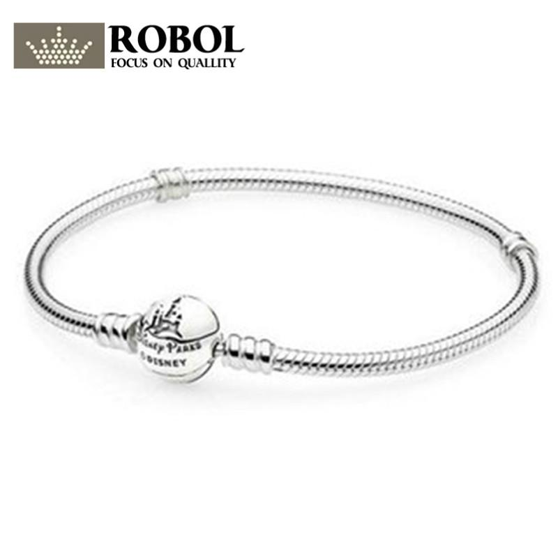 ROBOL 100% 925 sterling silver classic basic bracelet pattern women can DIY beaded silver jewelry gift factory outlets