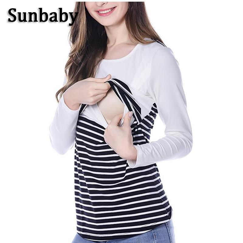 0e84d78b303e4 2019 Sunbaby New Spring Fashion Maternity Clothes Solid Color Patch Striped  Nursing Top Breastfeeding Clothing For Pregnant Women From Fragranter, ...
