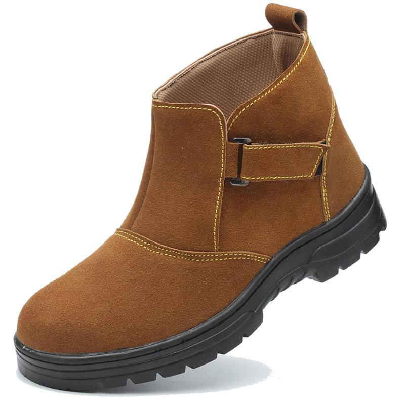 ae95dfcdde5 men fashion large size steel toe caps work safety welding shoes platform  soft leather tooling security ankle boots protective