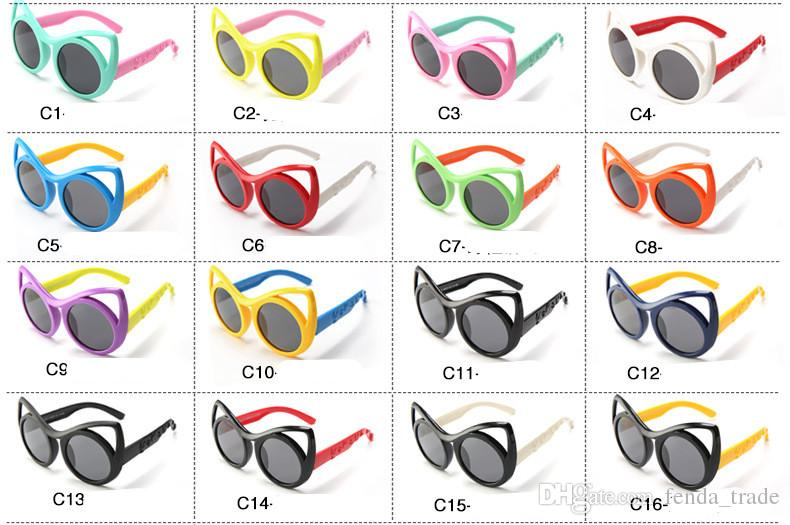 MOQ=Cat Eye Kids Sunglasses For Children Flexible Silicone Safety Polarized Glasses Girl Baby Eyewear For Party S8122