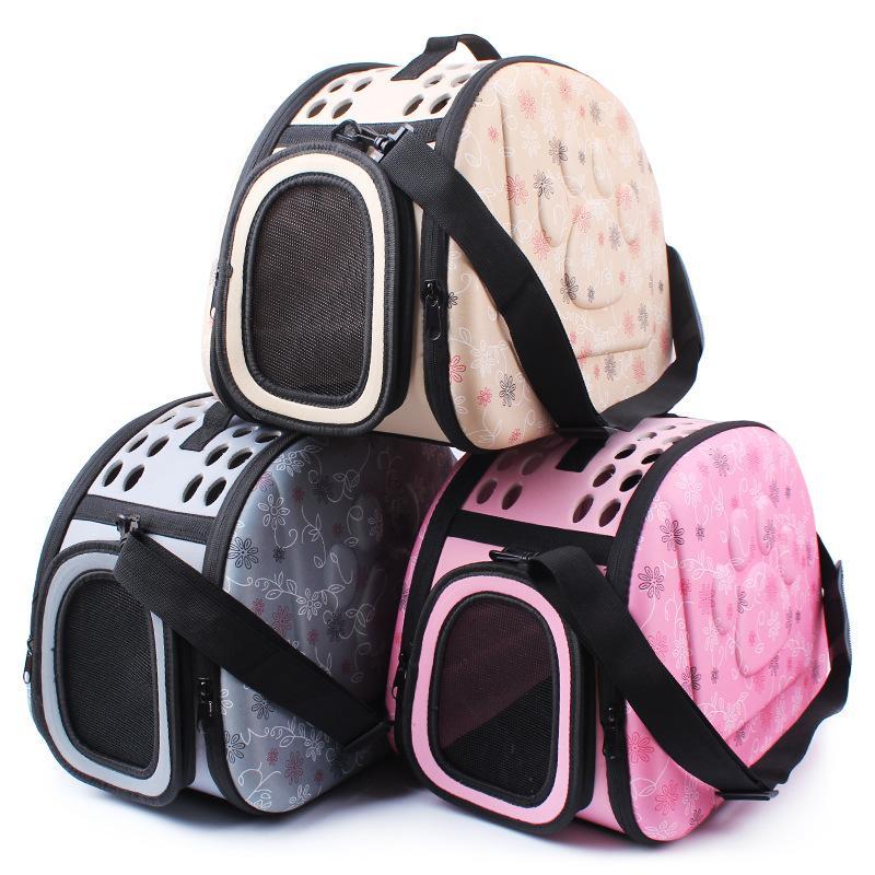 Dog Carrier Puppy Portable Travel Tote Bolsa para mascotas EVA bolsas Hombro respirable al aire libre Mochila plegable cómoda cremallera Pet House Large Size