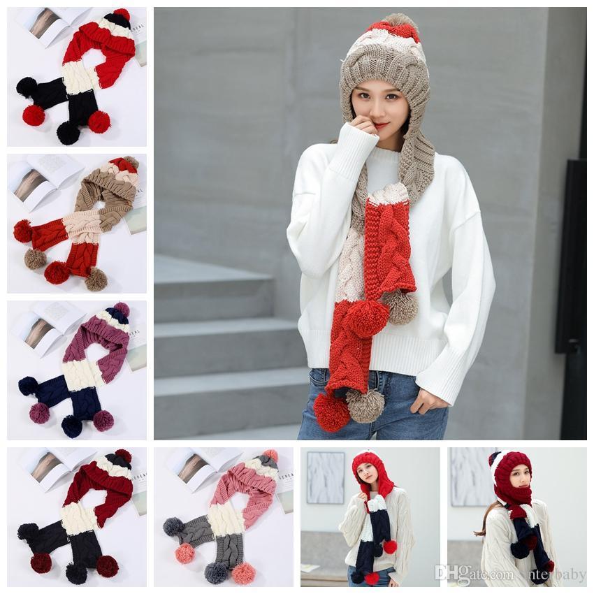 Großhandel Frauen Mit Kapuze Schal Winter Warme Kopftuch Wolle