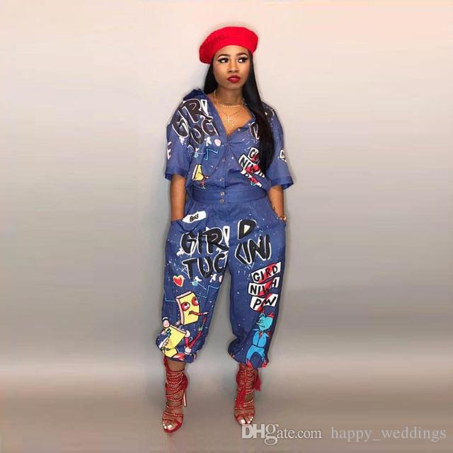 583b501a9ac 2019 Graffiti Print Summer Jumpsuits Outfit Denim Jeans Button 2018 Bandage Women  Casual Sexy Fashion Jumpsuits Rompers LD8103 From Happy weddings