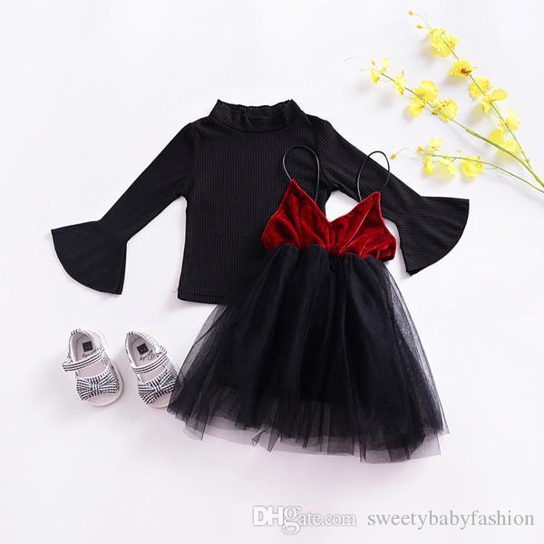Vestido de tutú con camisa y eslingas para niñas 2018 Nuevo resorte Lindo Vestido de 2 piezas Camisa negra y vestidos de velo de terciopelo azul rojo KA593