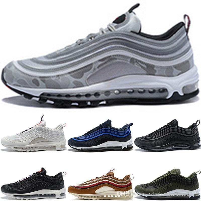 New 2018 Designer 97 Running Shoes Men Women Silver Camo Bullet Gold ... 1999cf775