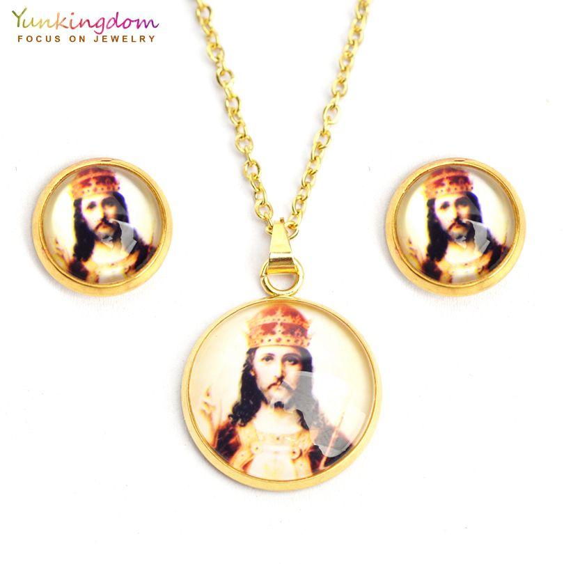 e5739625449c 2018 nuevos juegos de joyas de resina de jesús para mujeres de acero  inoxidable conjunto de joyas religiosas de titanio colgante collar  pendiente conjunto ...