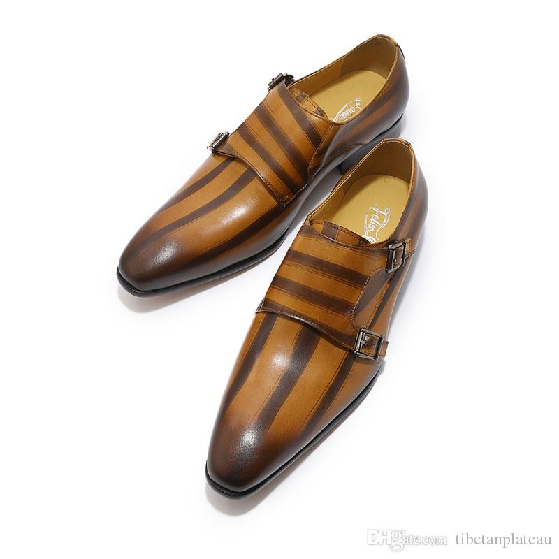Mens Genuine Leather Classic Oxford Dress Shoes Double Monk Strap Buckle Plain Toe Man Wedding Shoes Striped Pattern