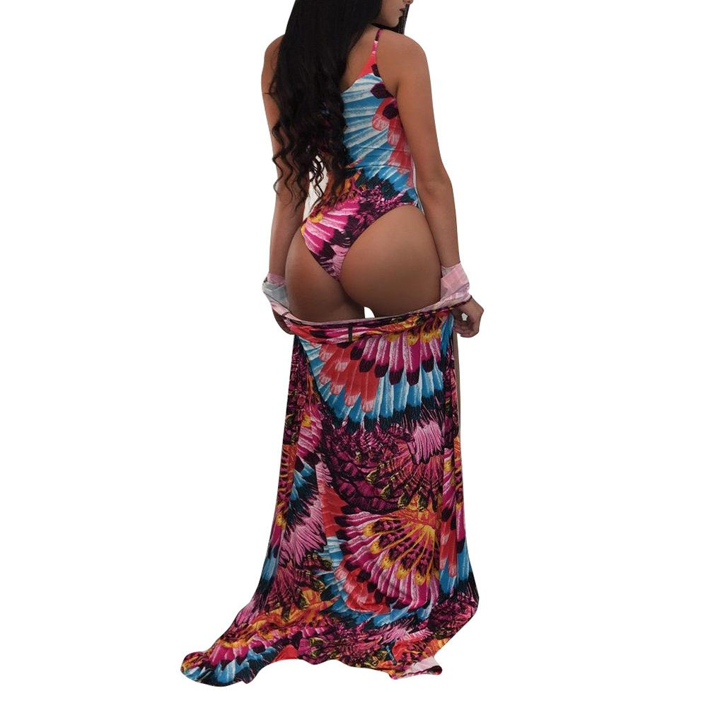 35b8484969 2019 Sexy Women Swimsuits Cover Up Colorful Print Lace Up Wireless Padding Bathing  Suit Set Beach Wear Swimwear Boho Overall Bodysuit From Liasheng07, ...