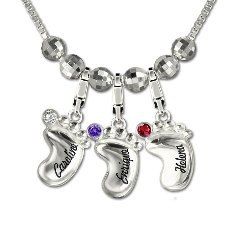 Wholesale Women S Personalized 3D Baby Feet Necklace Custom Engraved Name  Birthstone Necklaces Silver 925 Chain For Mom Collier Ras Du Cou Handmade  ... 1ba354c58d